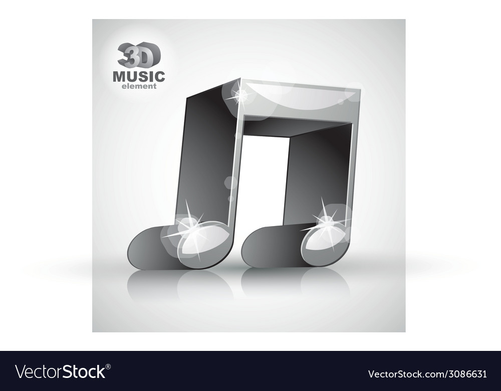 Funky metallic double musical note 3d modern style vector | Price: 1 Credit (USD $1)