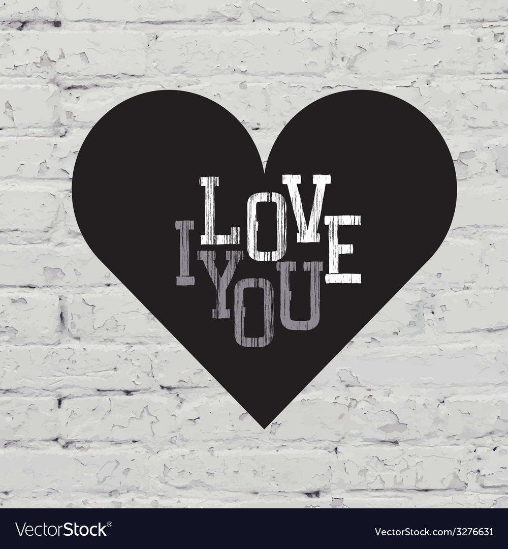 Heart sign on white brick vector | Price: 1 Credit (USD $1)