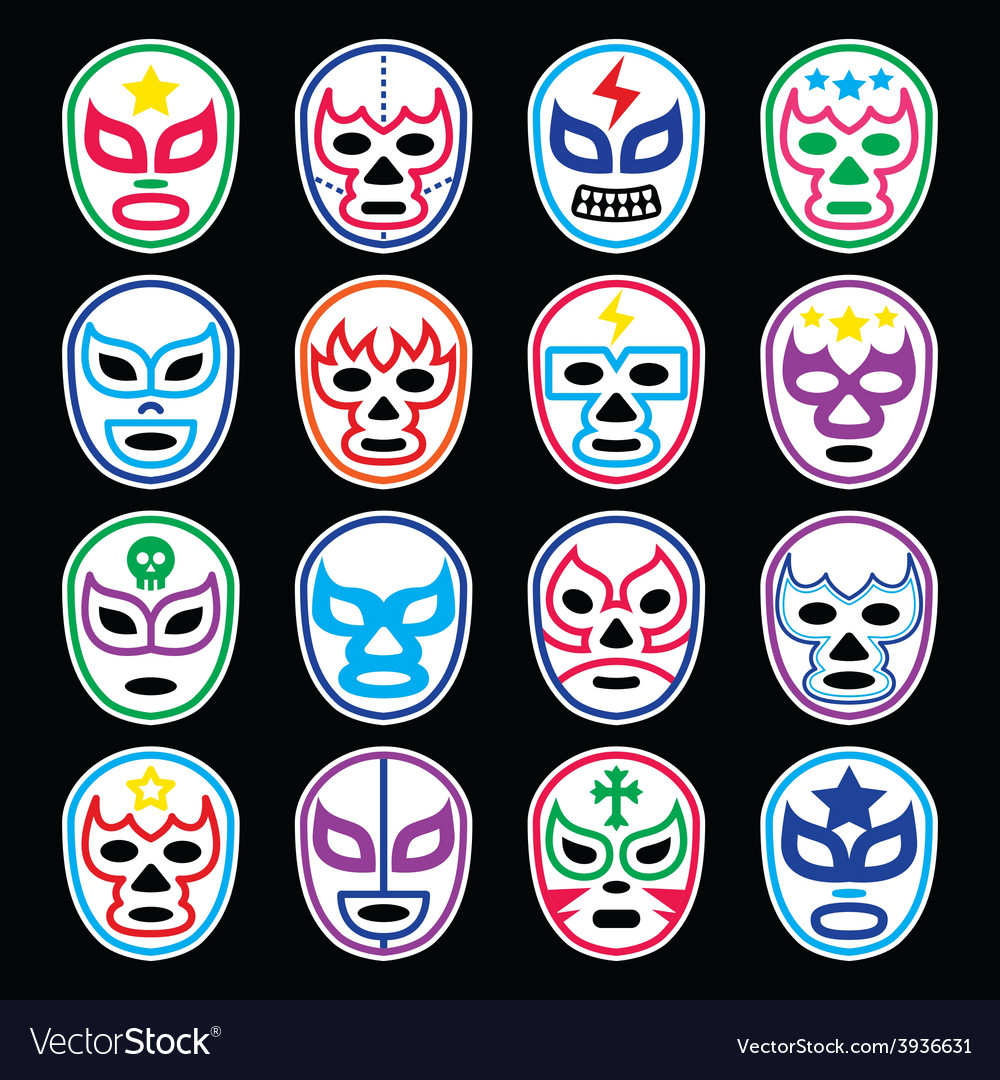 Lucha libre mexican wrestling masks icons on black vector | Price: 1 Credit (USD $1)