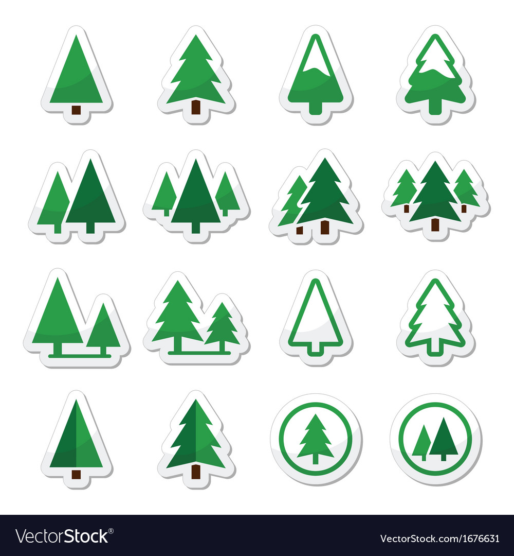 Pine tree icons set vector | Price: 1 Credit (USD $1)