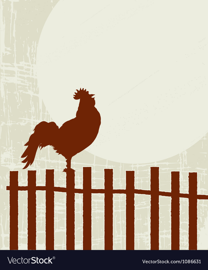Retro rooster card vector | Price: 1 Credit (USD $1)