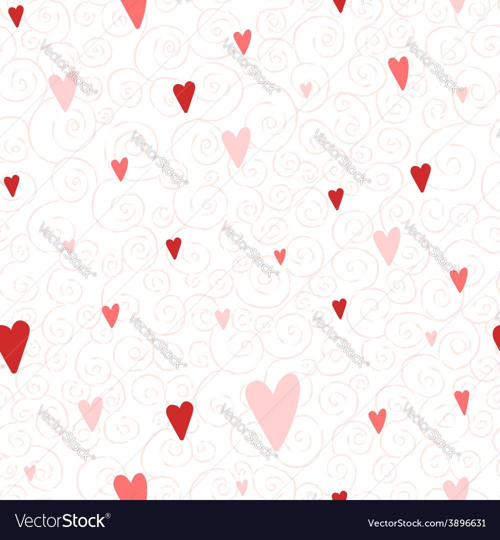 Seamless pattern with hearts and swirls vector | Price: 1 Credit (USD $1)