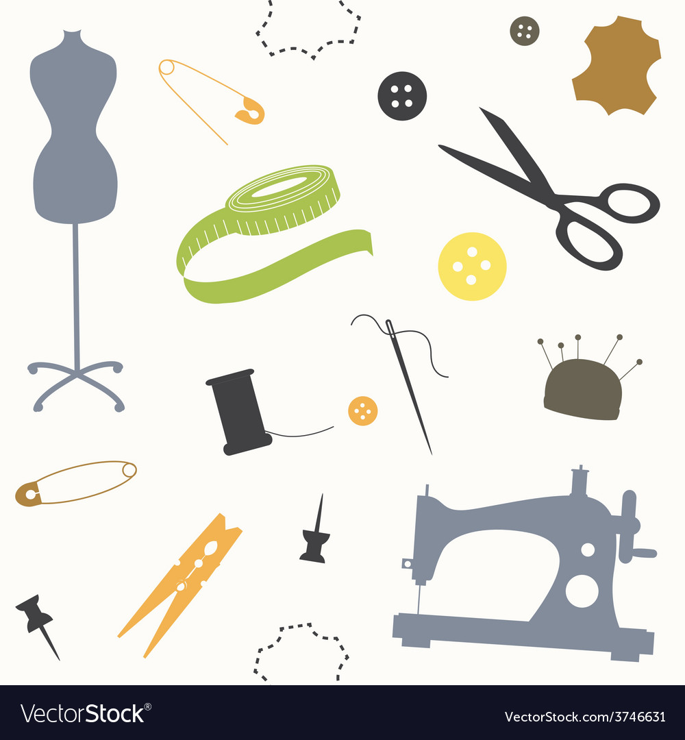 Seamless print with sewing tools vector | Price: 1 Credit (USD $1)