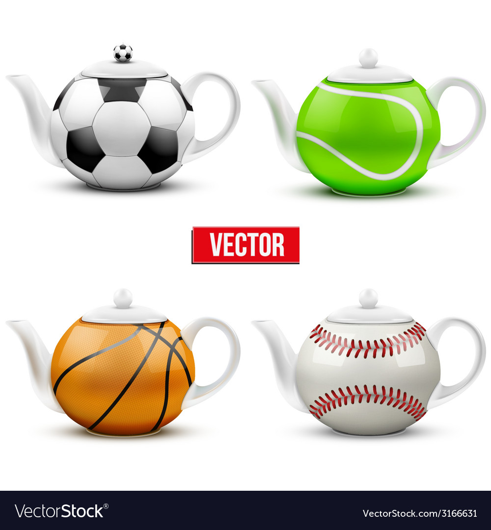 Set of different ceramic teapots in form balls vector | Price: 1 Credit (USD $1)