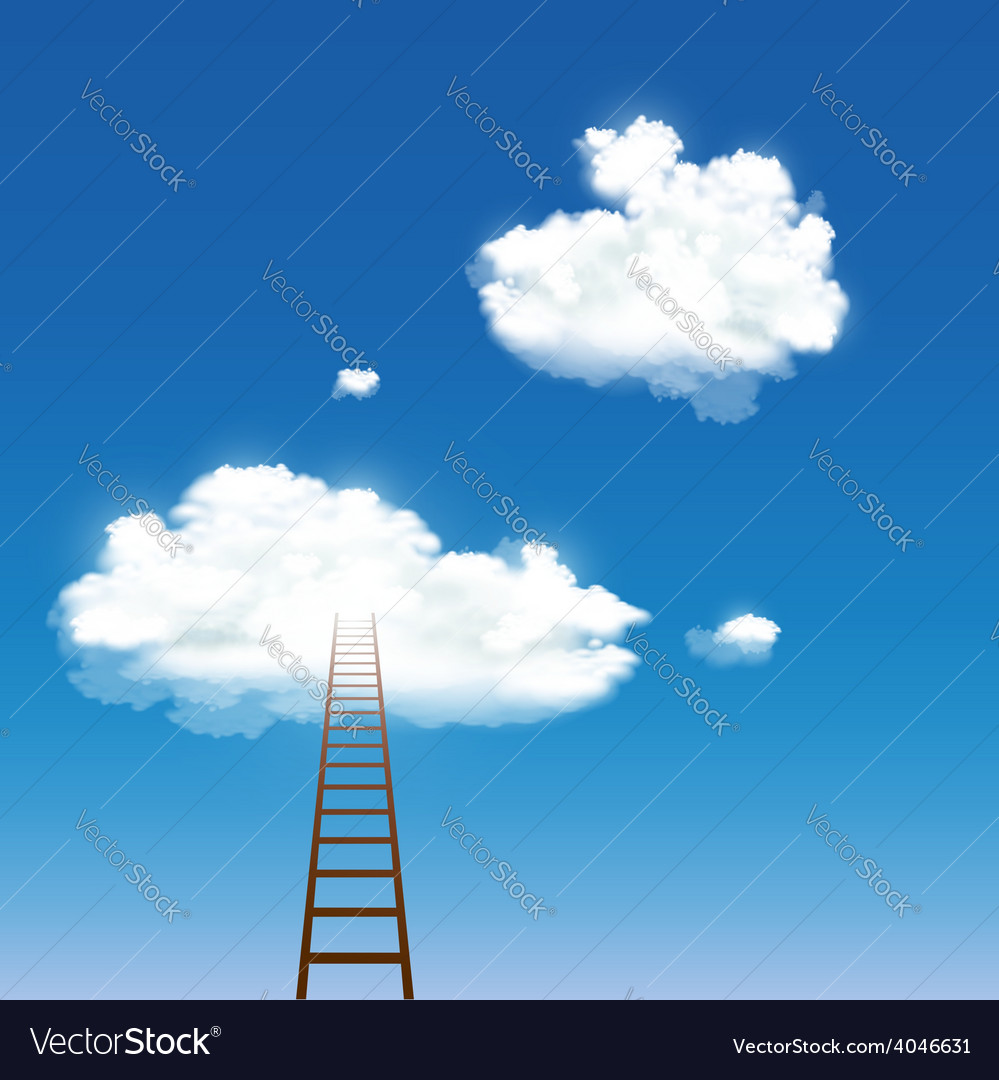 Staircase leading to the clouds vector | Price: 1 Credit (USD $1)