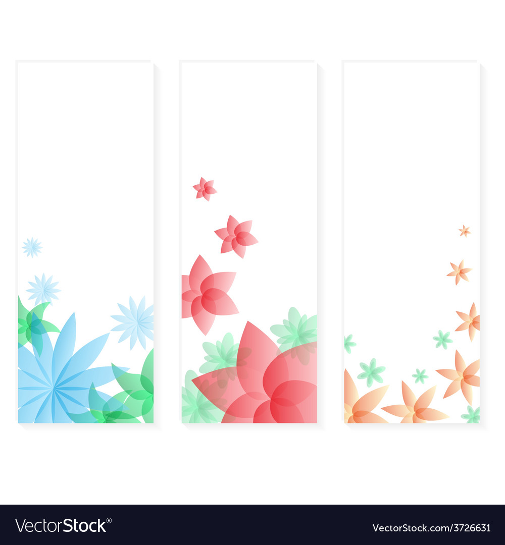 Three types of floral vertical banner cards eps10 vector | Price: 1 Credit (USD $1)