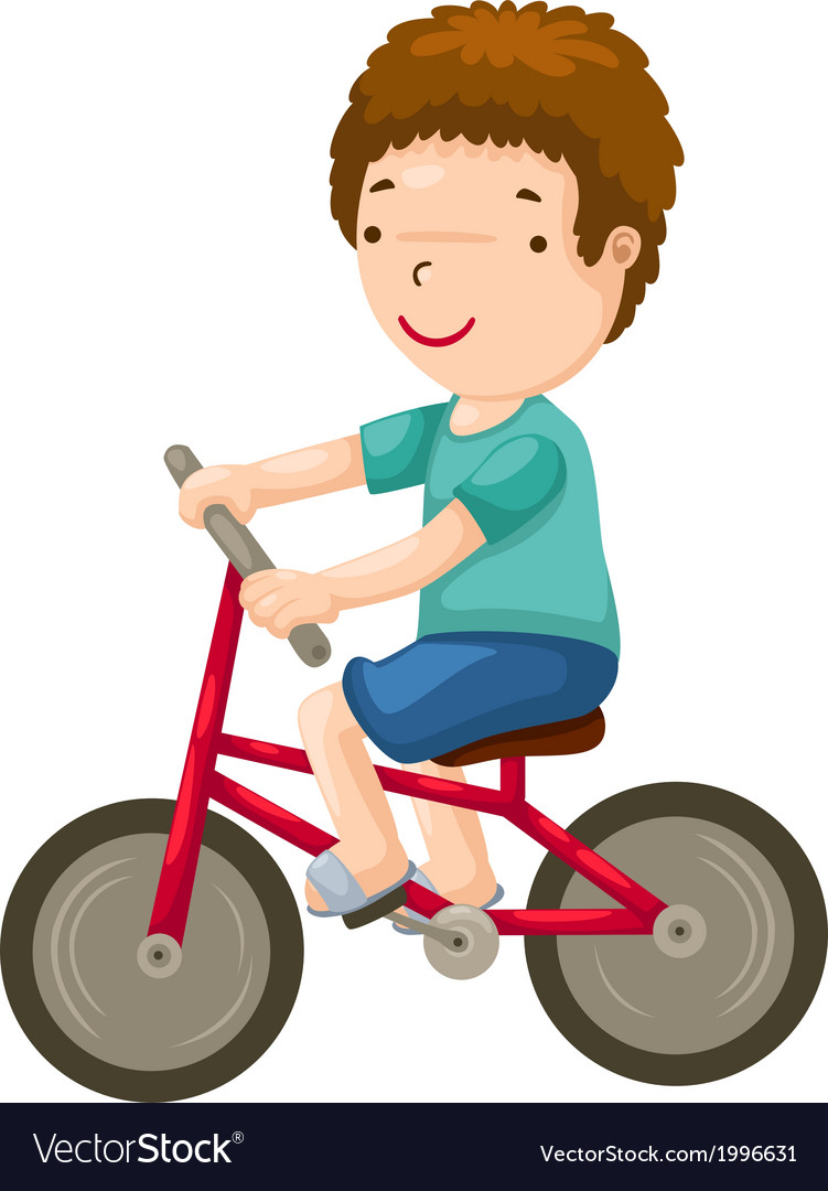 Young boy riding a bicycle vector | Price: 1 Credit (USD $1)