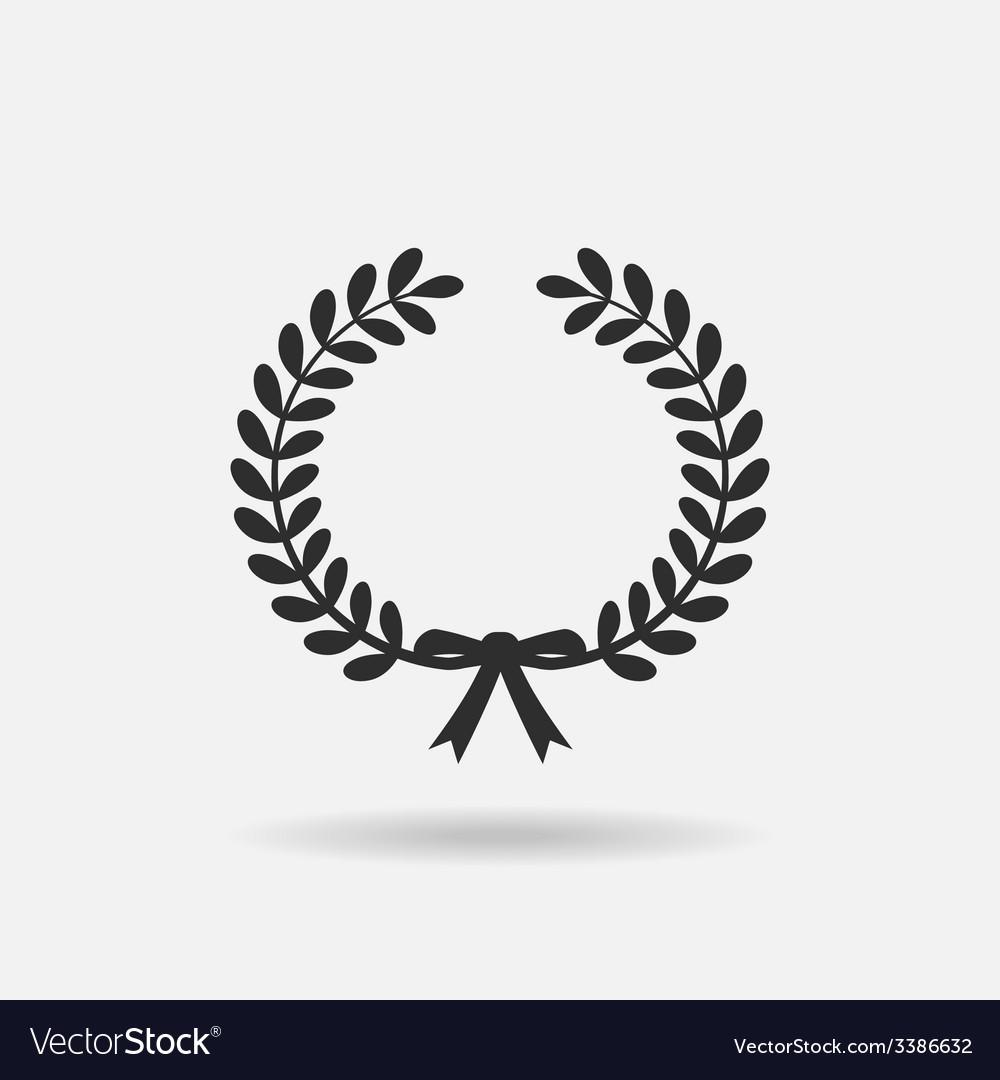 Black laurel silhouette foliate circular vector | Price: 1 Credit (USD $1)