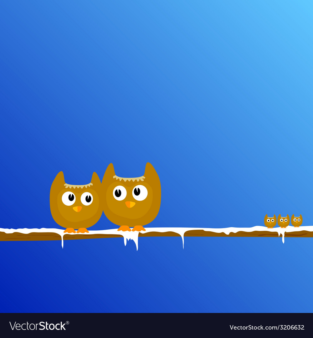 Funny animal on the snow branch art vector | Price: 1 Credit (USD $1)