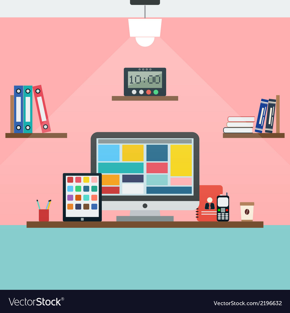 Home workplace vector | Price: 1 Credit (USD $1)