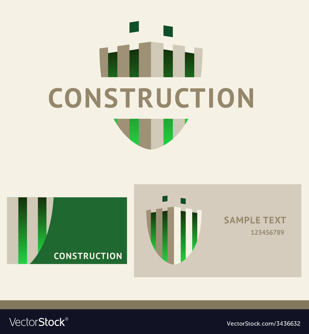 Logo business card and cover for construction vector | Price: 1 Credit (USD $1)