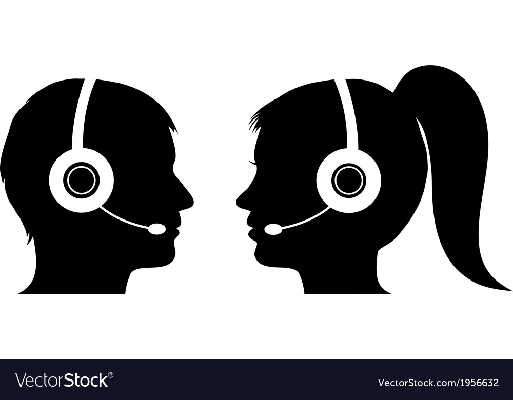 Male and female operator in call center vector | Price: 1 Credit (USD $1)