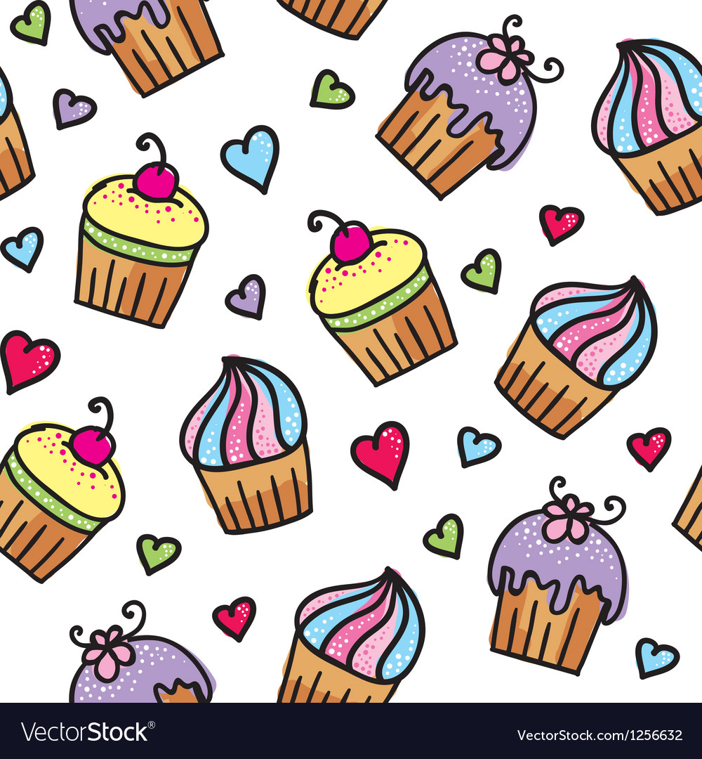 Pattern of cupcakes vector | Price: 1 Credit (USD $1)