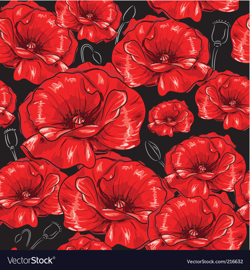 Poppies seamless wallpaper vector | Price: 1 Credit (USD $1)