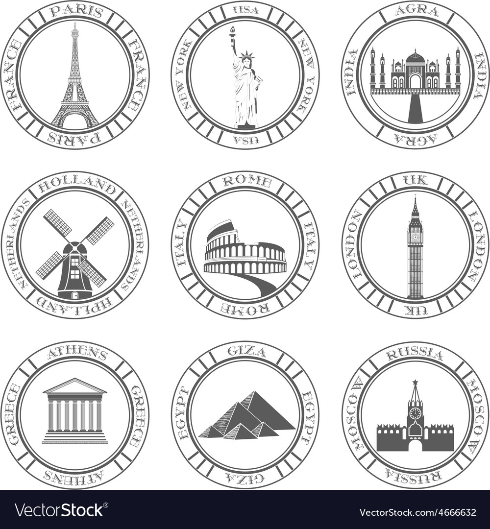 Set icons of travel and sightseeing vector | Price: 1 Credit (USD $1)