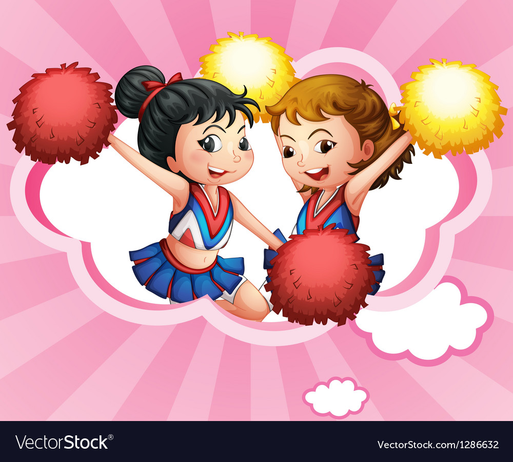 Two young and energetic cheerdancers vector | Price: 1 Credit (USD $1)
