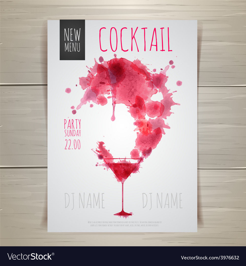 Watercolor cocktail poster vector | Price: 1 Credit (USD $1)