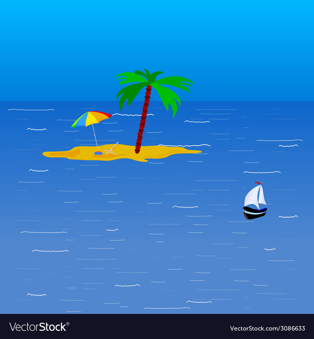 Beach on the sea color vector | Price: 1 Credit (USD $1)