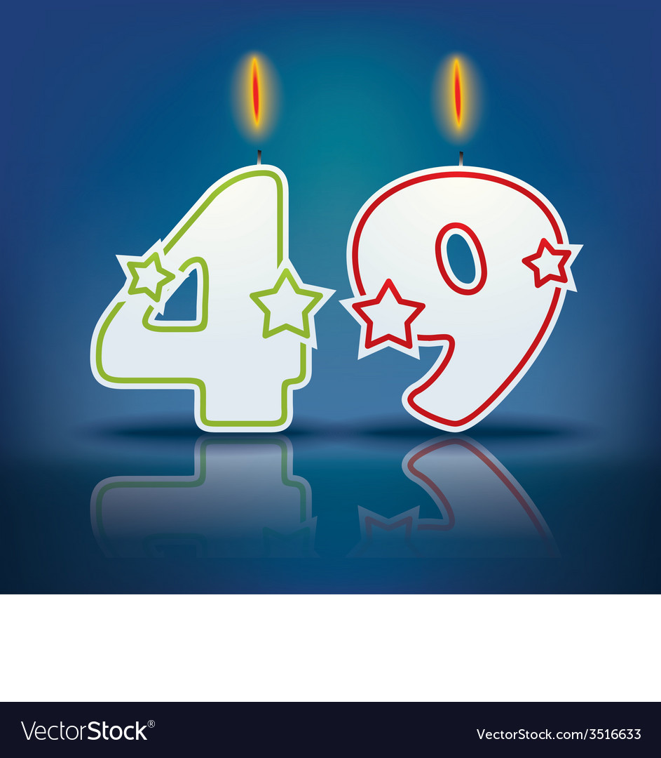 Birthday candle number 49 vector | Price: 1 Credit (USD $1)