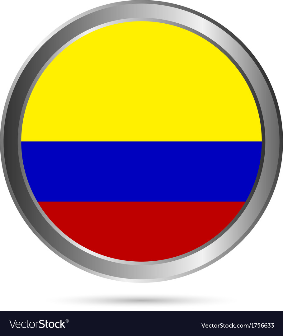 Colombia flag button vector | Price: 1 Credit (USD $1)