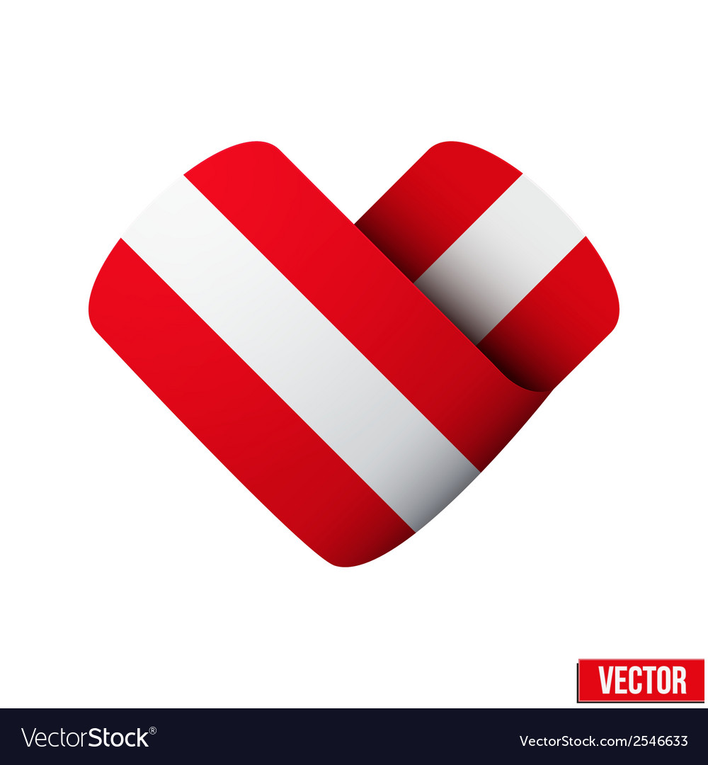 Flag icon in the form of heart i love austria vector | Price: 1 Credit (USD $1)
