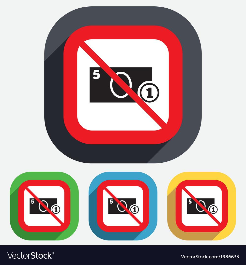 No cash sign icon money symbol coin vector | Price: 1 Credit (USD $1)