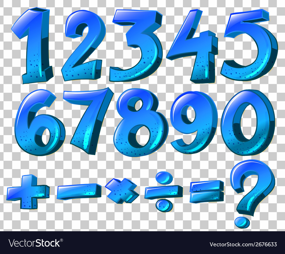 Numbers and math symbols in blue color vector | Price: 1 Credit (USD $1)