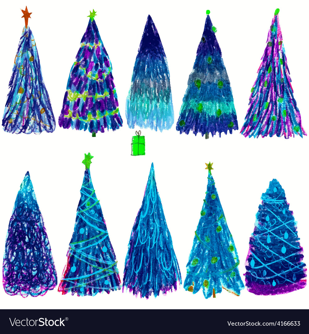 Set of christmas colored trees isolated on white vector | Price: 1 Credit (USD $1)