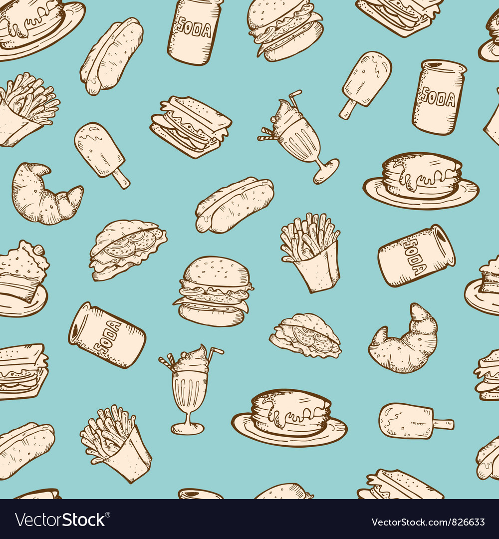 Vintage food pattern vector | Price: 1 Credit (USD $1)