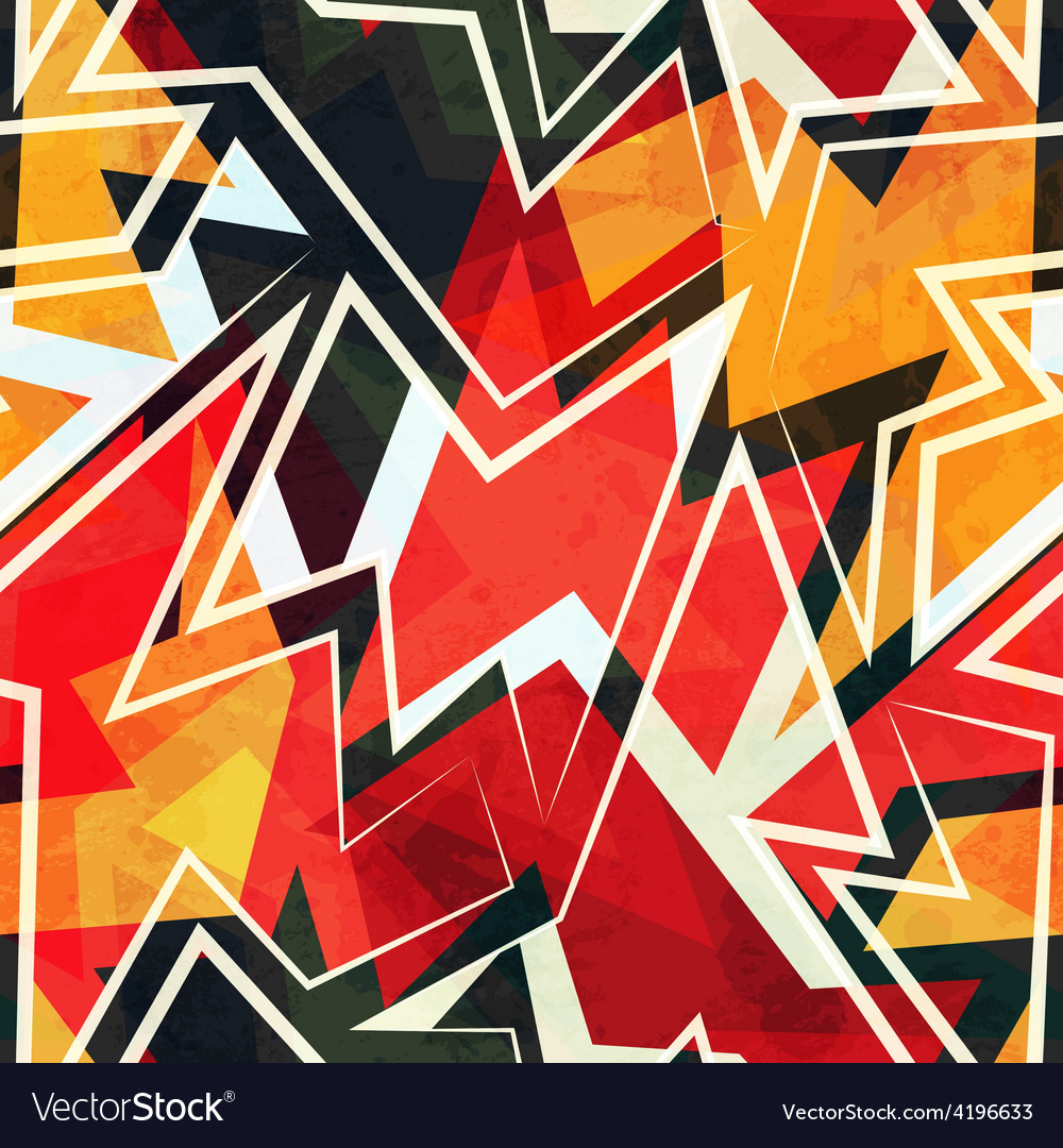 Warm color geometric seamless pattern vector | Price: 1 Credit (USD $1)