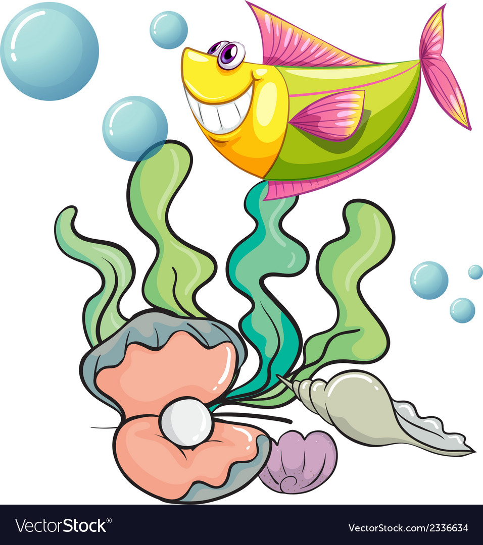 A smiling fish under the sea near the shells vector | Price: 1 Credit (USD $1)