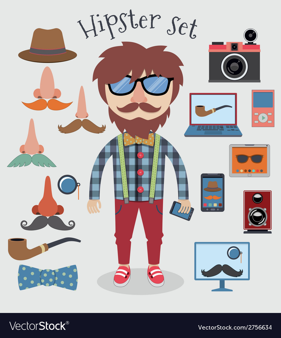 Hipster boy set vector | Price: 1 Credit (USD $1)