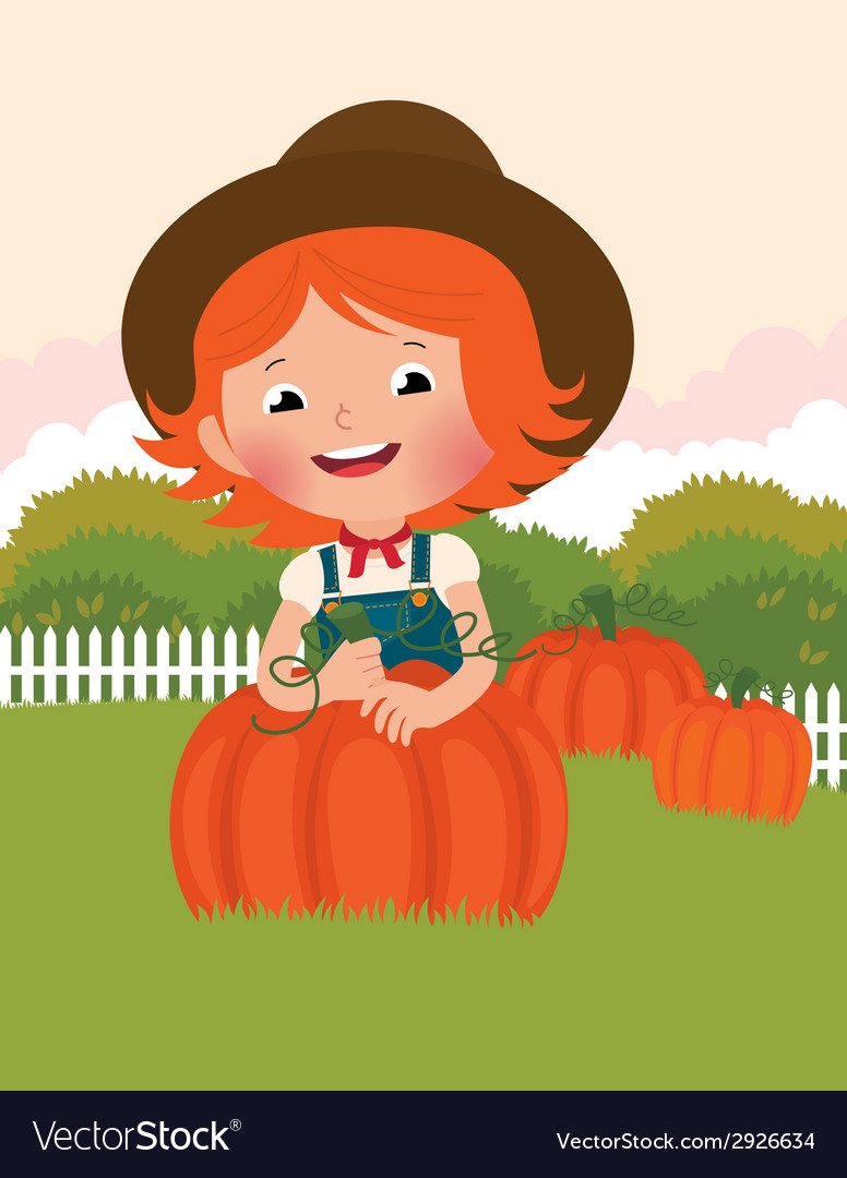 Little farmer of pumpkins vector | Price: 1 Credit (USD $1)