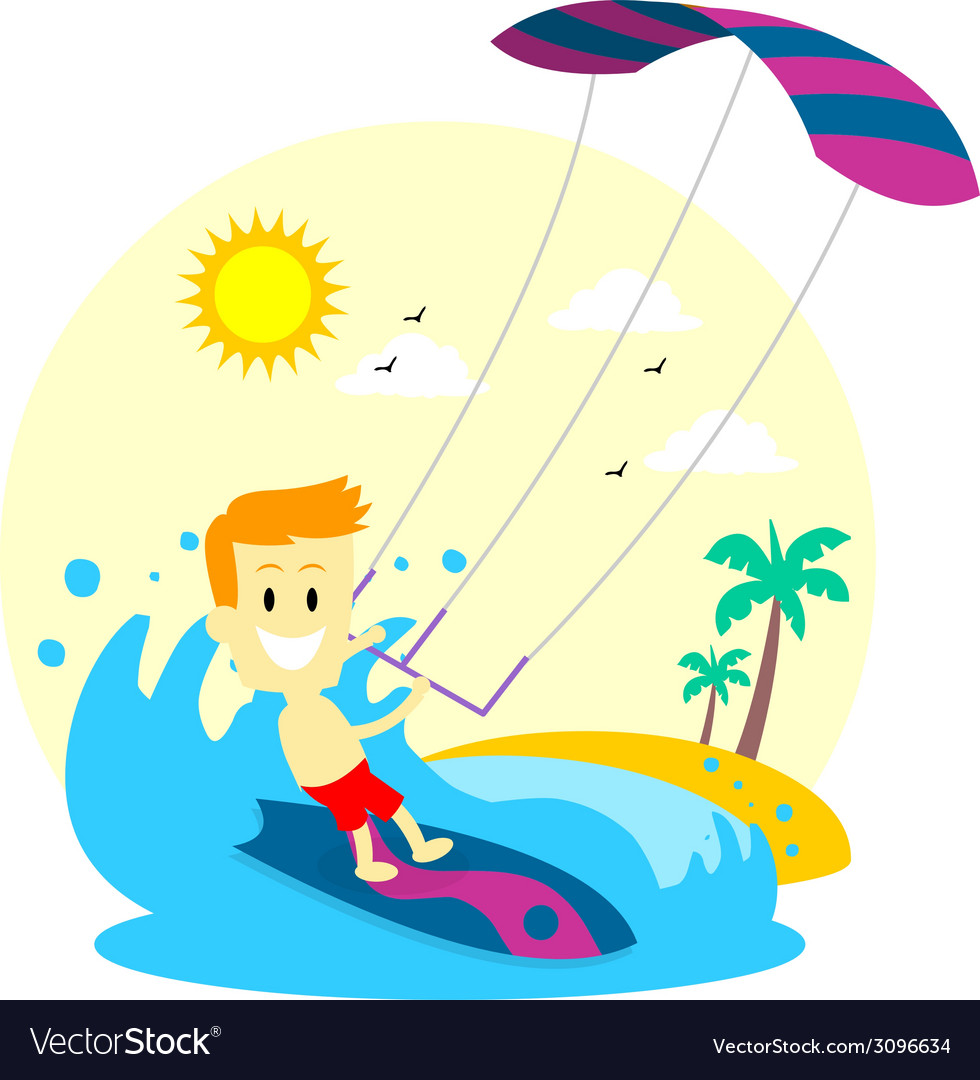 Man enjoying kitesurfing vector | Price: 1 Credit (USD $1)