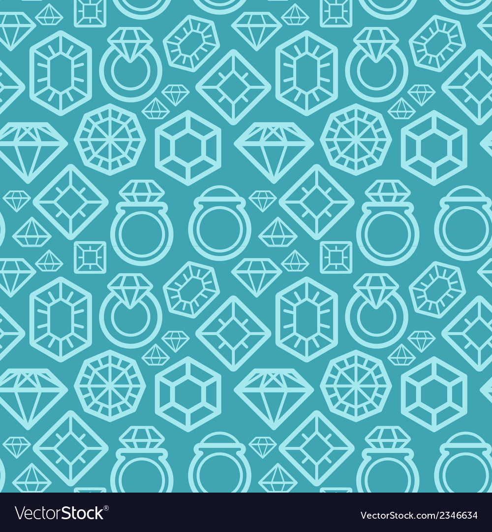 Seamless pattern with gem and diamond icons vector | Price: 1 Credit (USD $1)