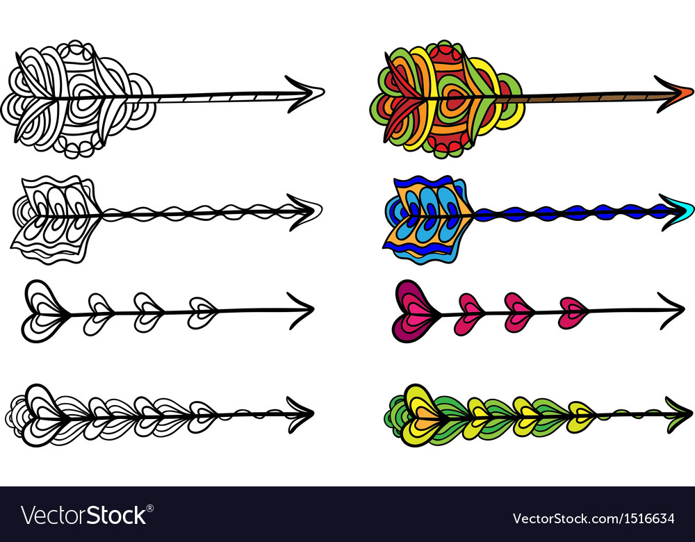 Set of doodle artistic arrows vector | Price: 1 Credit (USD $1)