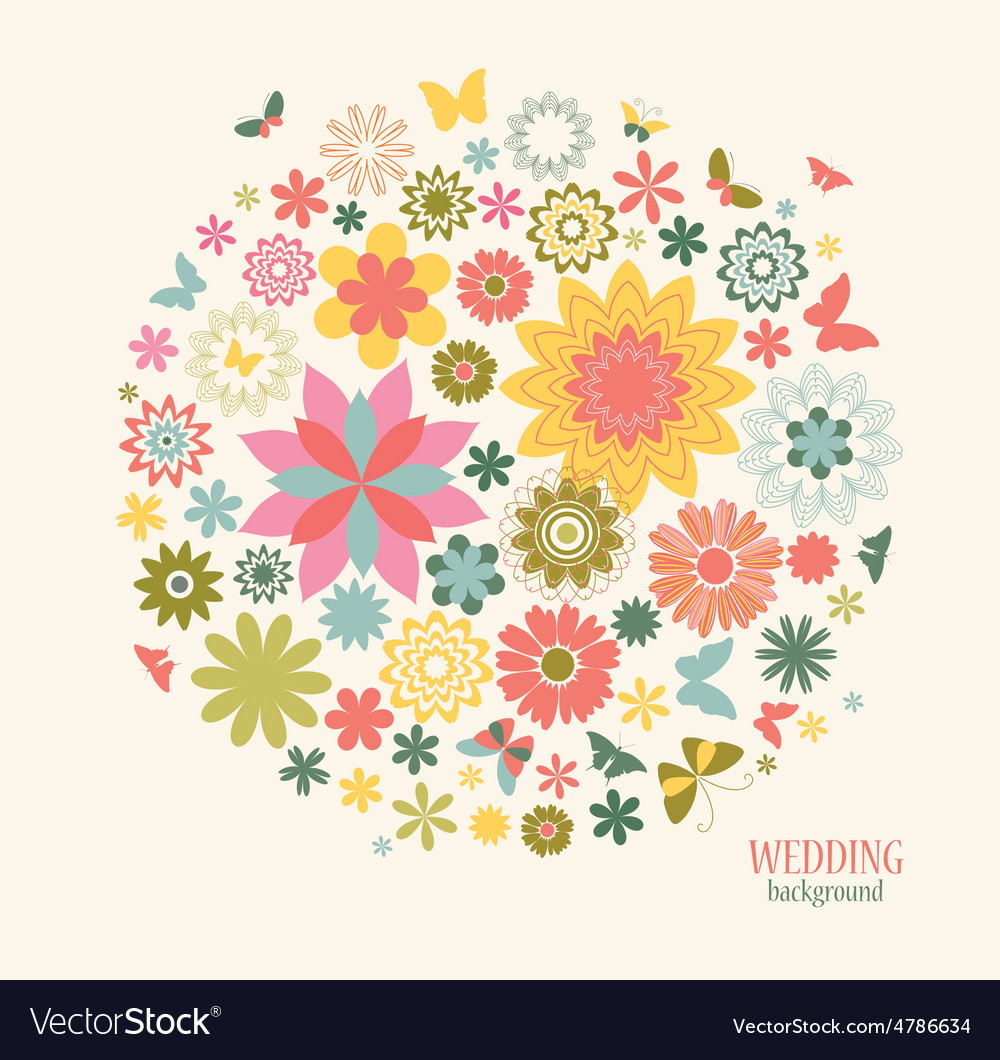 Vintage greeting card with decorative flowers and vector | Price: 1 Credit (USD $1)