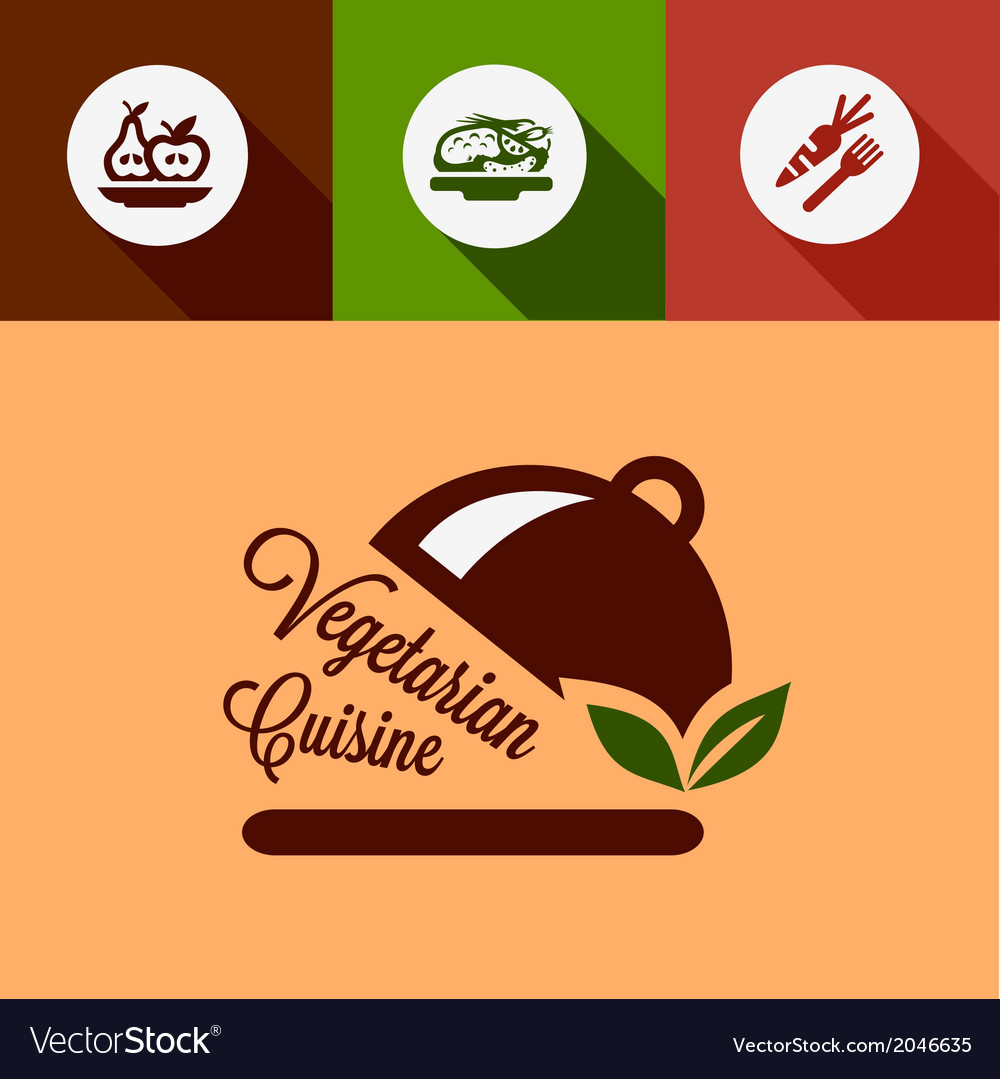 Flat vegetarian cuisine design elements vector | Price: 1 Credit (USD $1)