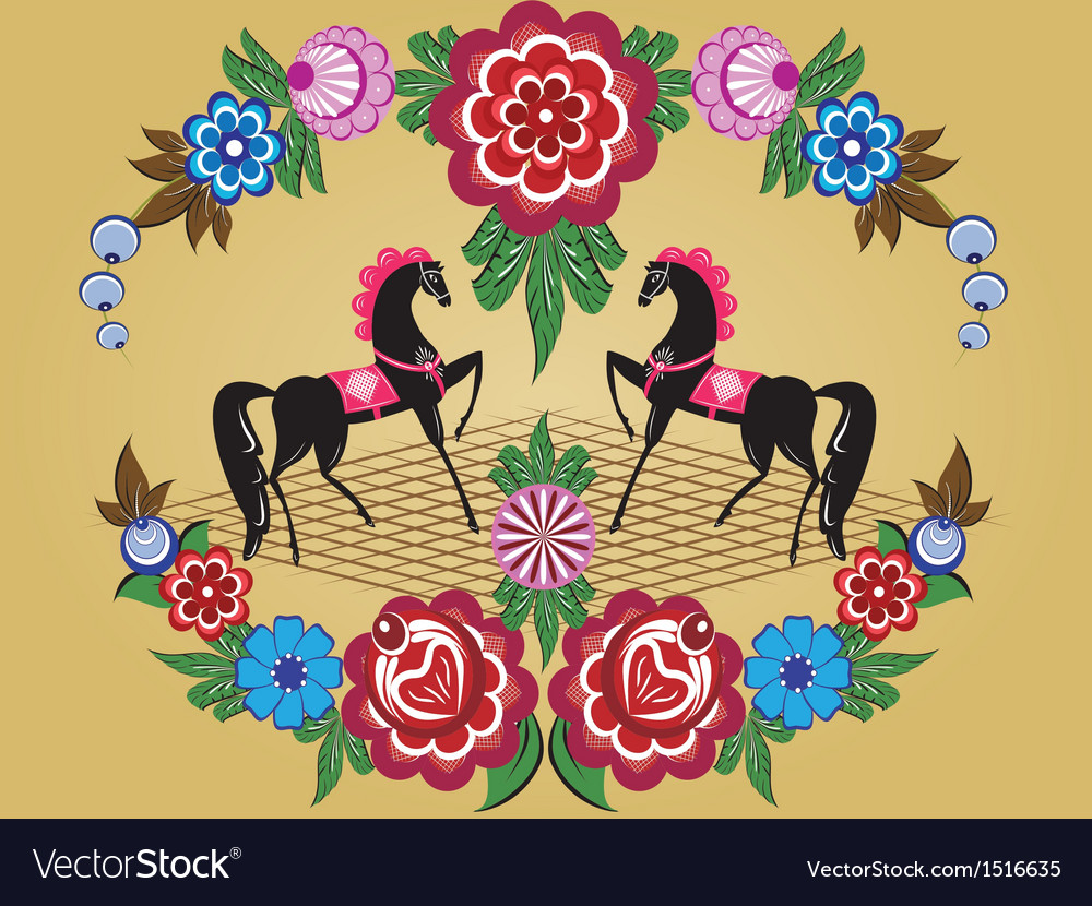 Folklore pattern gorodets painting russia vector | Price: 1 Credit (USD $1)