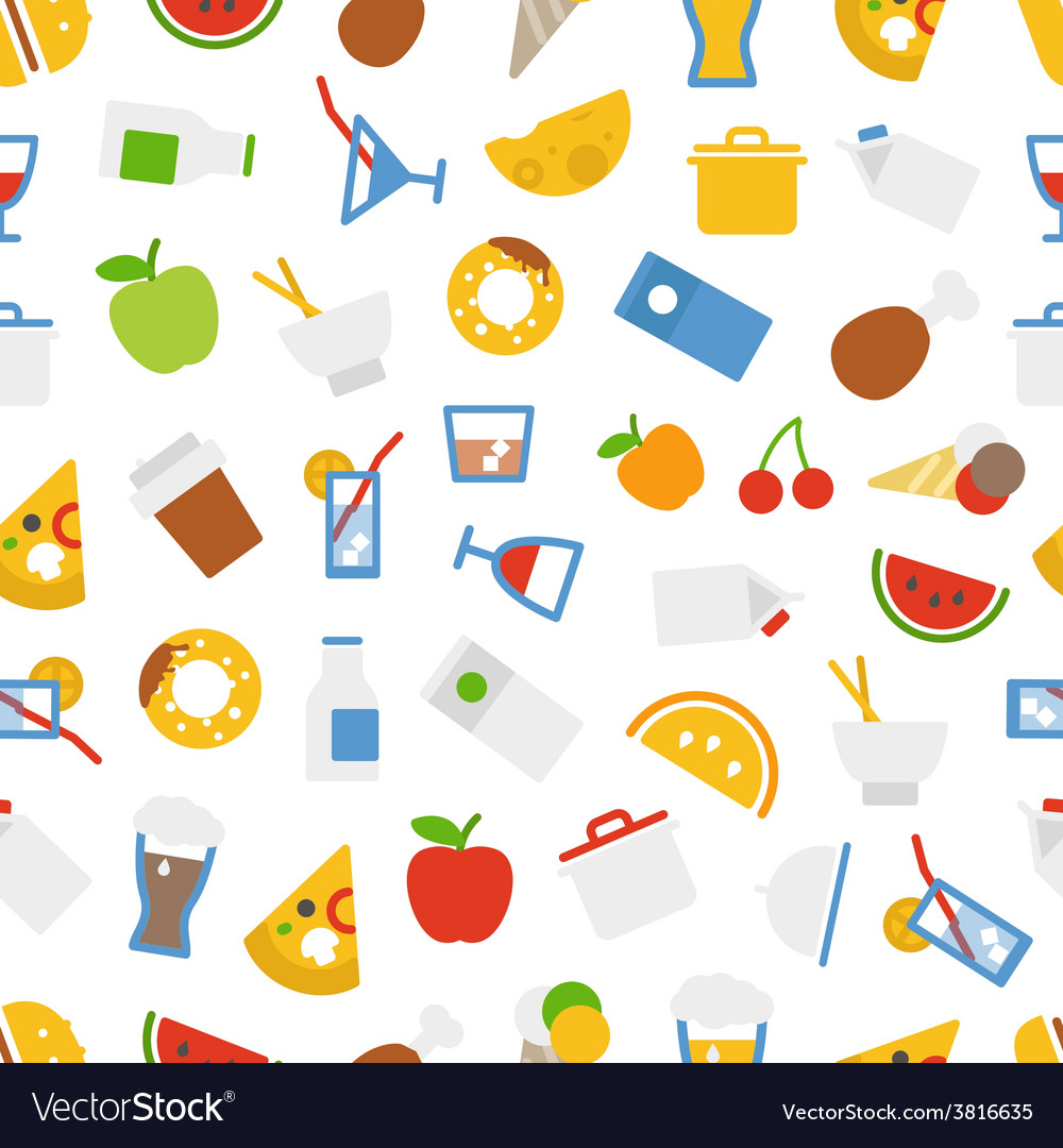 Food icons seamless background vector | Price: 1 Credit (USD $1)
