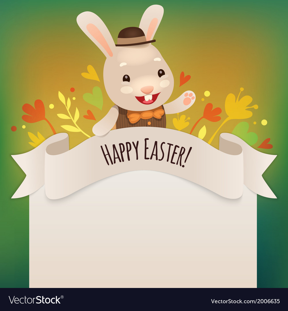 Happy easter bunny greeting card vector | Price: 1 Credit (USD $1)