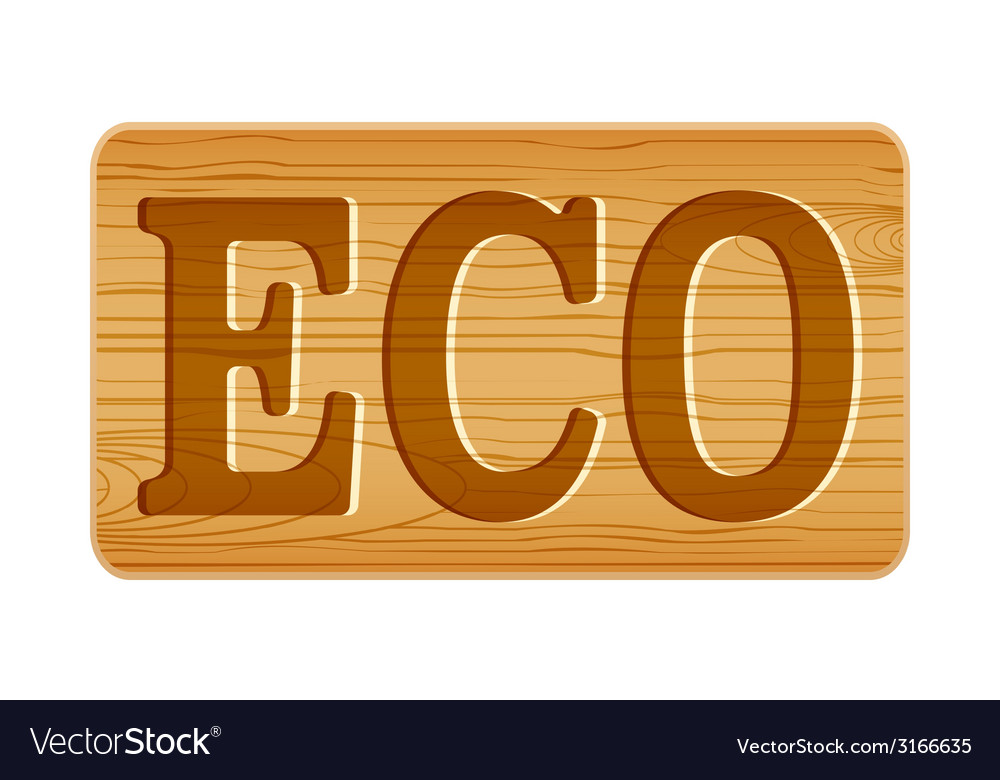 Nameplate of wood for menu with word eco vector | Price: 1 Credit (USD $1)