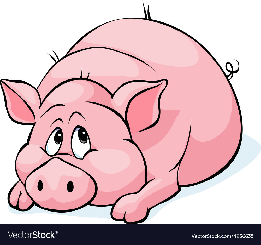 Pig cartoon laying isolated on white background - vector | Price: 1 Credit (USD $1)