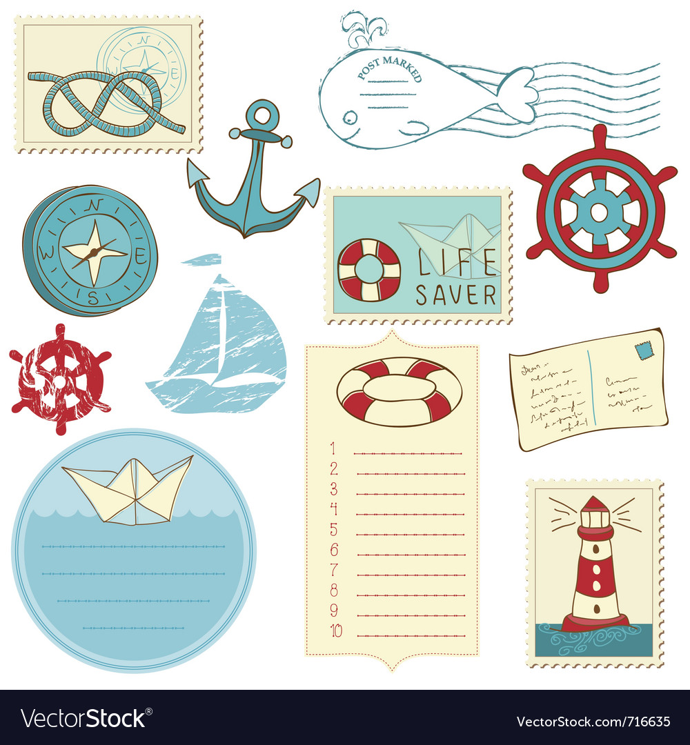 Scrapbook sea elements vector | Price: 1 Credit (USD $1)