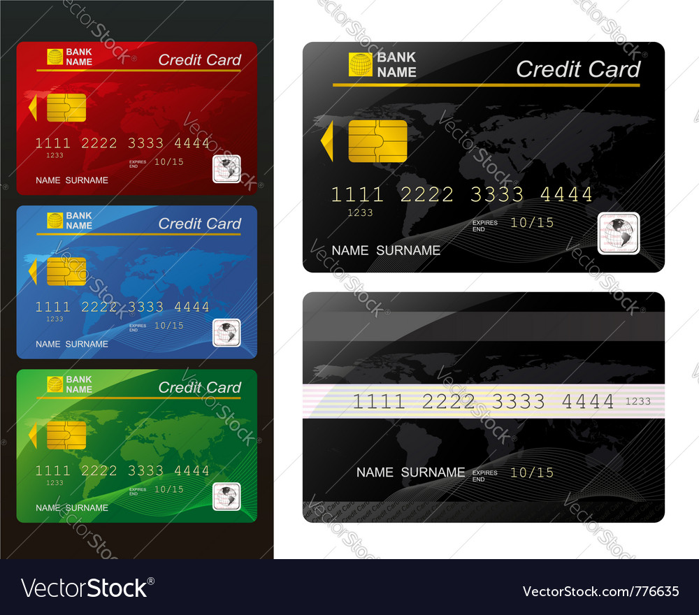Set of credit card vector | Price: 1 Credit (USD $1)