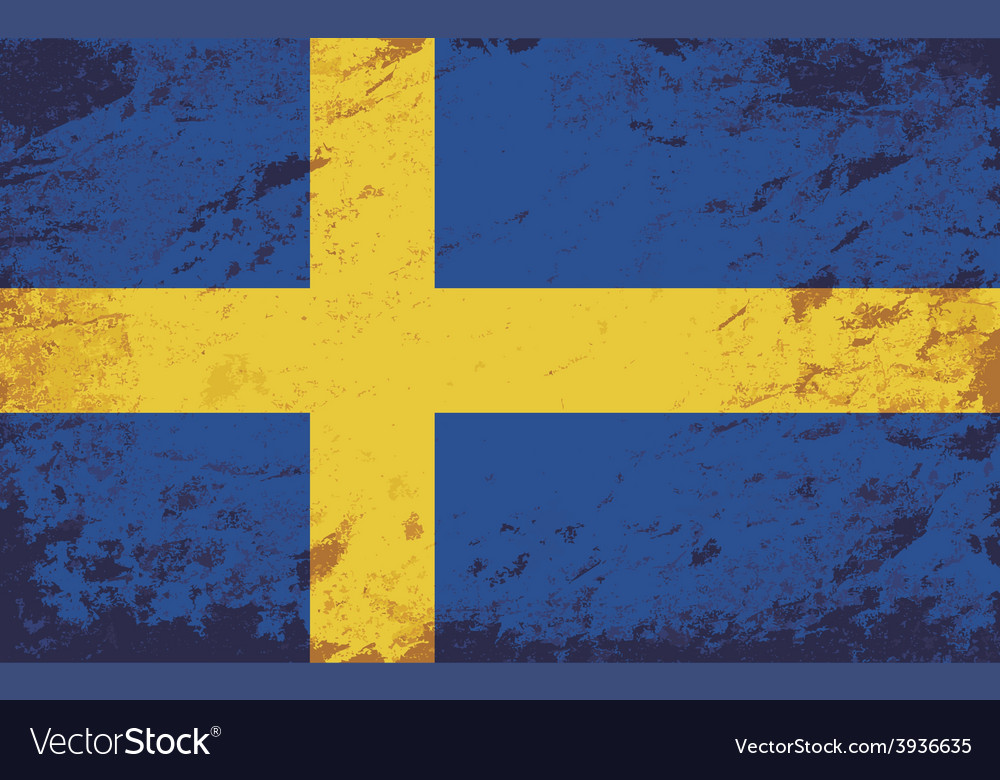 Swedish flag grunge background vector | Price: 1 Credit (USD $1)