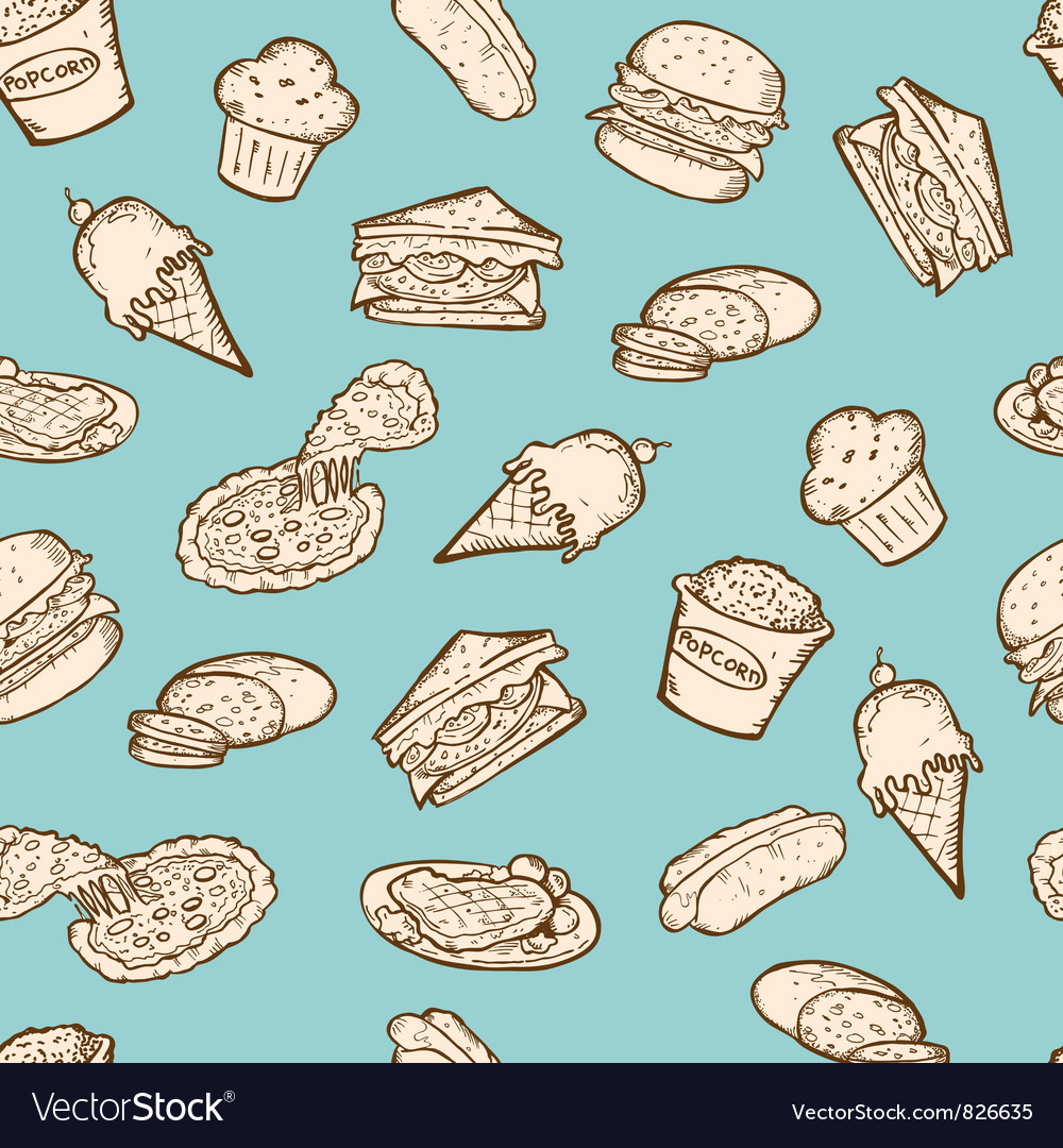 Vintage food snacks pattern vector | Price: 1 Credit (USD $1)