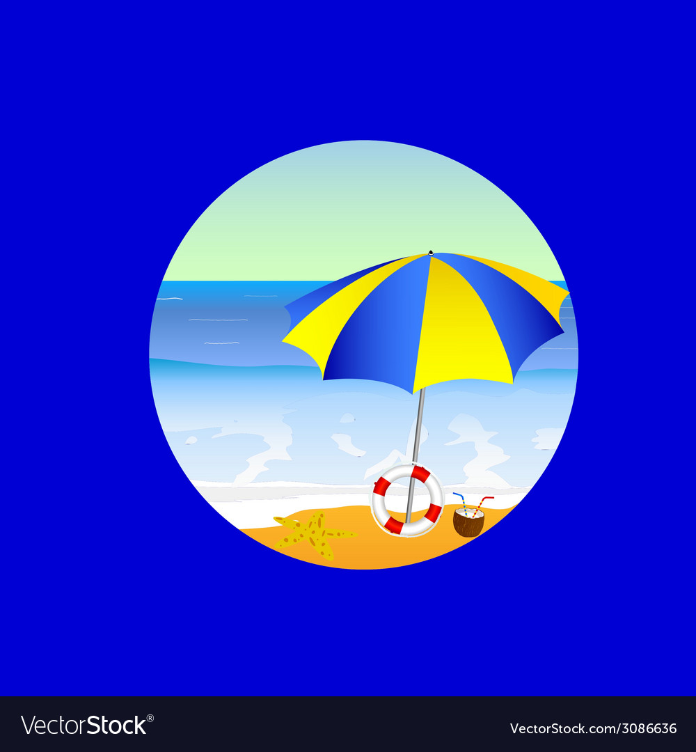 Beach paradise cartoon on a blue vector | Price: 1 Credit (USD $1)
