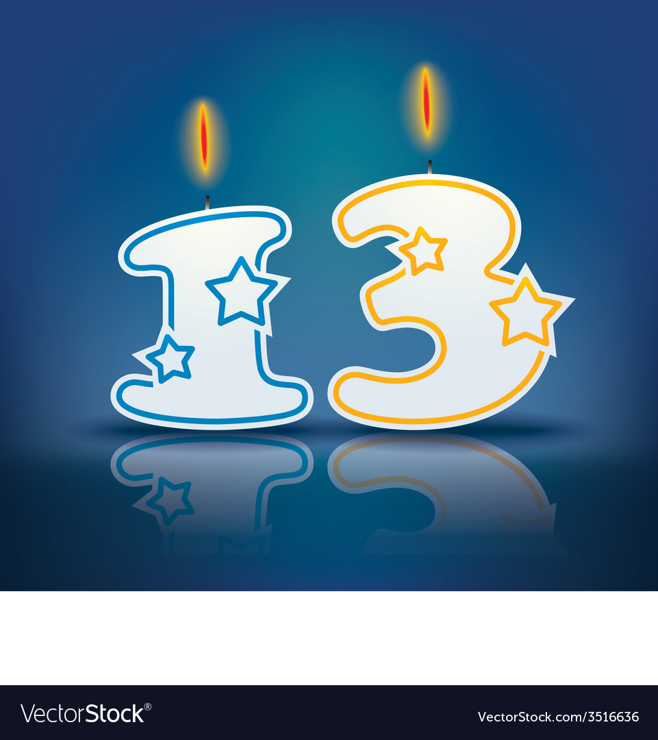Birthday candle number 13 vector | Price: 1 Credit (USD $1)