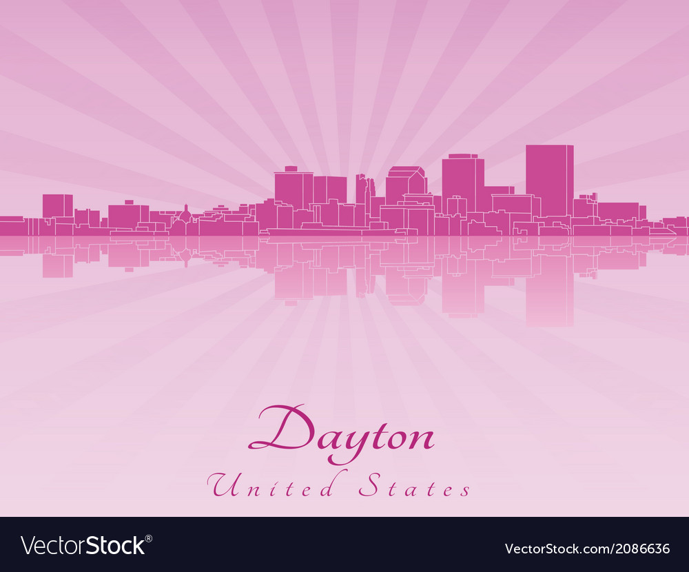 Dayton skyline in purple radiant orchid vector | Price: 1 Credit (USD $1)